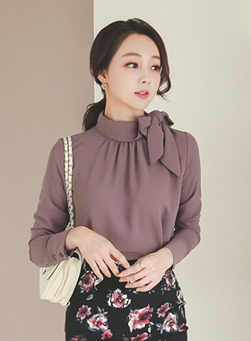 Shirring rolled scarf bowknot Blouse