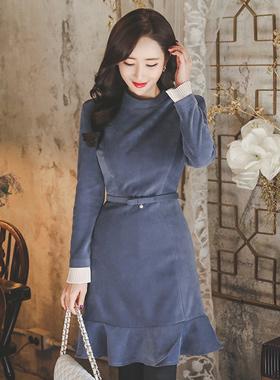 feminine Pleats Cuffs Ruffle Dress