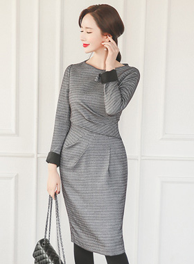 Formal Net Finch Shirring Dress