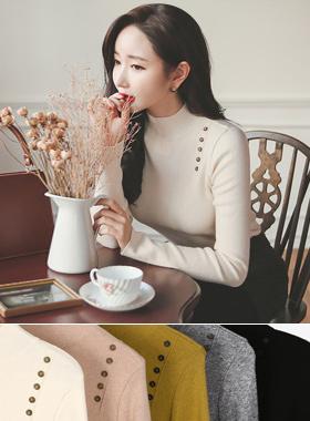 Shoulder Button Bangle Wool knit