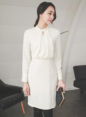 Elegance Volume Top Hem Neck Dress