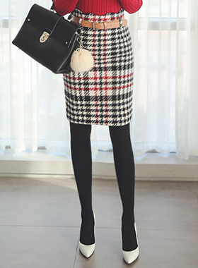 Shepard Check Wave Wool Skirt