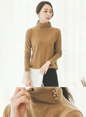Side Button Funnel Neck Long Knit Top