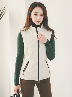 v quilting Suede lining Padded vest