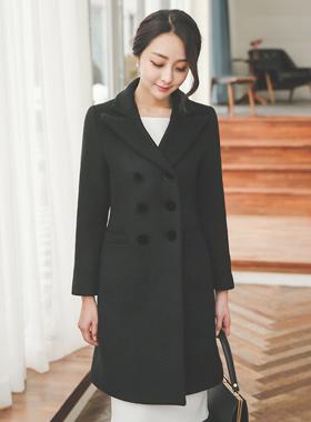 Velvet Double-button wool coat