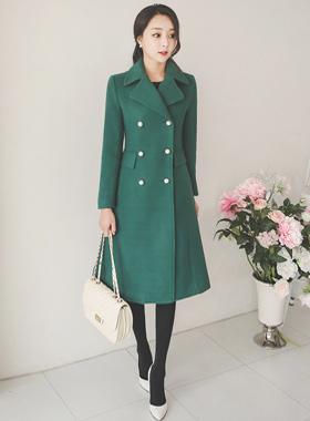 Lady double pearl Aline wool coat