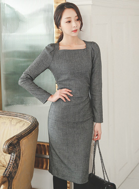 Side Finch Shearing Square Neck Dress