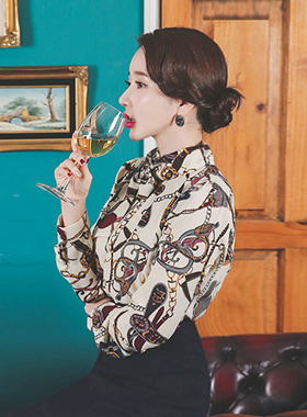 Baroque printing scarf neck Blouse