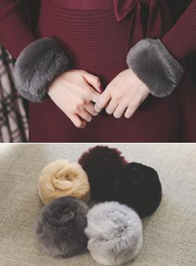 Real rabbit fur bangle warmer