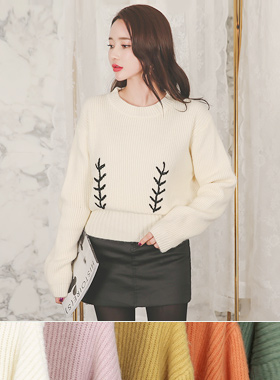 Twig Embroidery Volume Knit