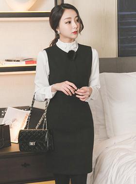 Real mink brooch wool wool black dress