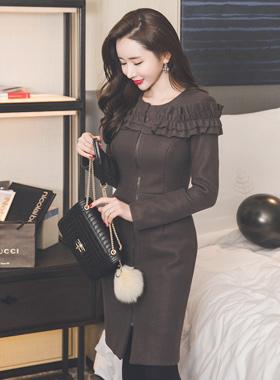 Gothar Frill Long Zipper Wool Dress