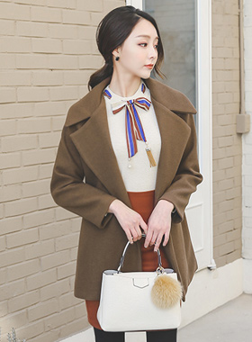 Pony Wide Collar Belted Wool Coat