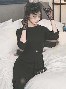Elegance Cubic Peplum SET Dress