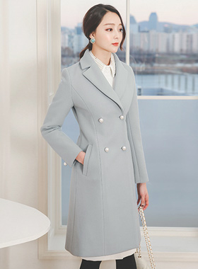 Pearl button double Flare wool coat