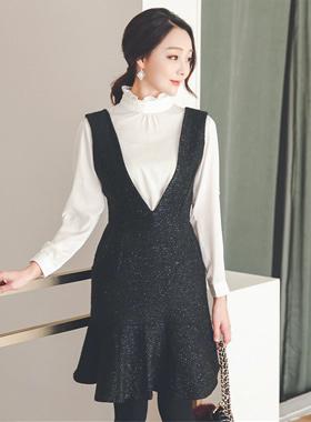 Metal Pearl Tweed Suspender Dress