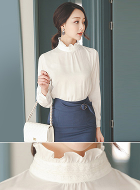 Velor lace Frill neck Shirling Blouse