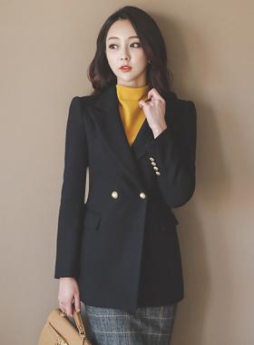 Career Slim quilting cowl wool jacket