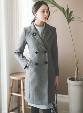 Mink brooch velvet button double wool coat