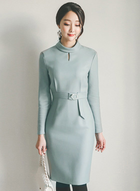 Rotors Neck Polygon Belt Dress