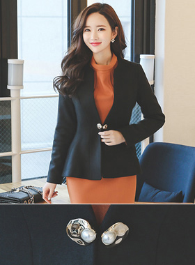 Clam Gold Pearl Aline Wool Jacket