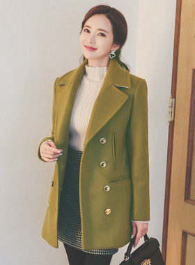 Double pocket gold button Wool half coat