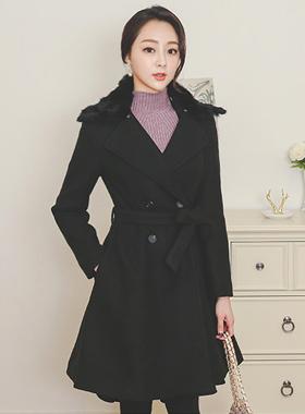 Real Rabbit fur double Flare Wool coat