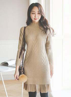 Pleats Chiffon Hem Knit Dress