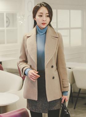 Mohair Double-button Slim Half Coat