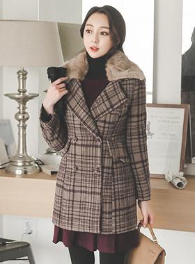 Harp Rabbit Percola Wool Check Coat