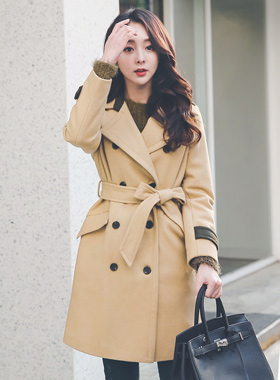 Color combination Wool Trench Coat