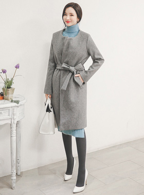 Daily Raund neck Belted Coat
