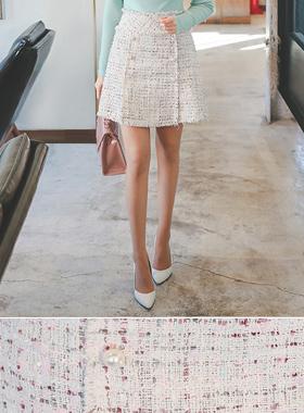 Shine Pearl Button Tweed Skirt