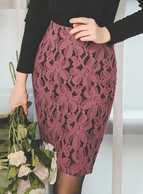 two tone Mesh Flower Race Skirt