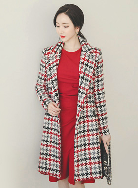 Mix color Check quilting Wool coat
