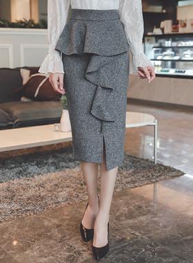 Ruffle Line Unpepper Skirt