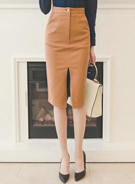 High Deep Slit Cotton Span Skirt