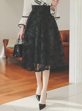 Checker & Flower Flare Skirt