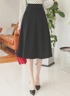 Dot Line Bottom Pleats Skirt