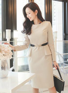 feminine side peplem Dress