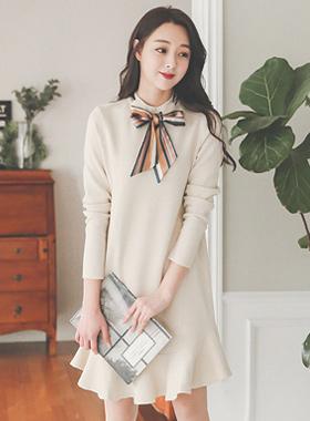 Scarf Ribbon Tie Ruffle Knit Dress