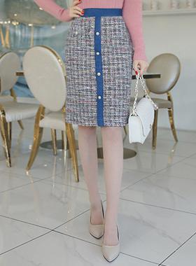 sweet Denim Tweed Skirt