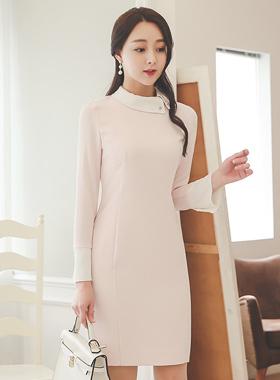 Pearl Brooch Uniform Flat Collar Dress