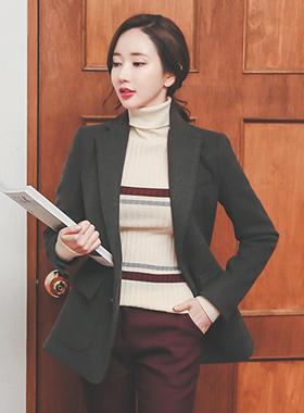 simple preppy single wool jacket