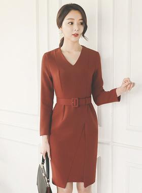 Brick Uncut V-neck Dress