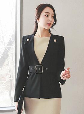 Gold button wide belt Jacket