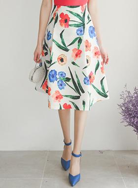 Vivid Big Flower Satin Skirt