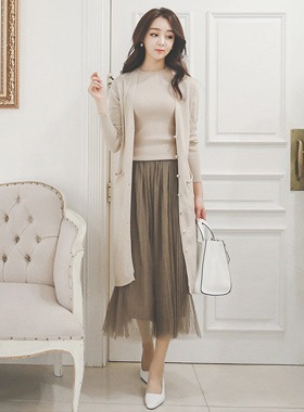 Provence Button Long knit Cardigan
