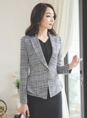 Class No collar Tweed Jacket