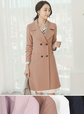 Classic wide collar double long jacket